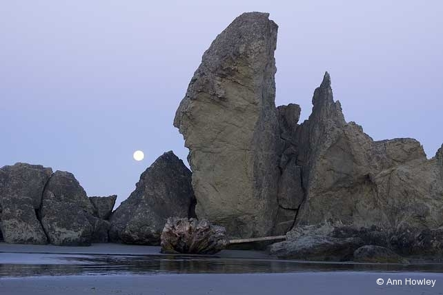 Bandon Beach Moonset, Oregon